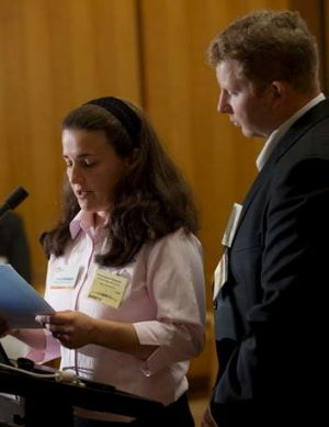 Emma and Peter Cockburn of Young telling their story at the National Road Safety Forum at Parliament House, held in ...
