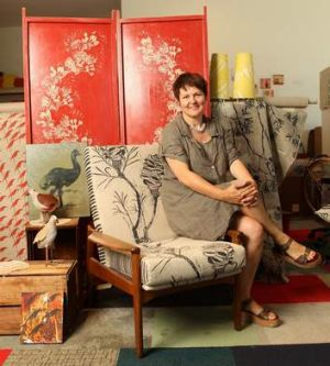 Great outdoors ... Julie Paterson in her Cloth Fabric studio in Darlinghurst.