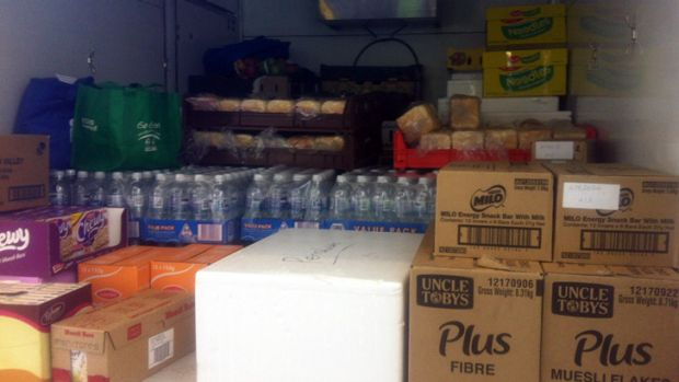 Truckload ... A truck filled with food donations for the fire front.