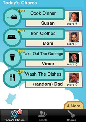 A screenshot of the Chore Hero app for iPhone.