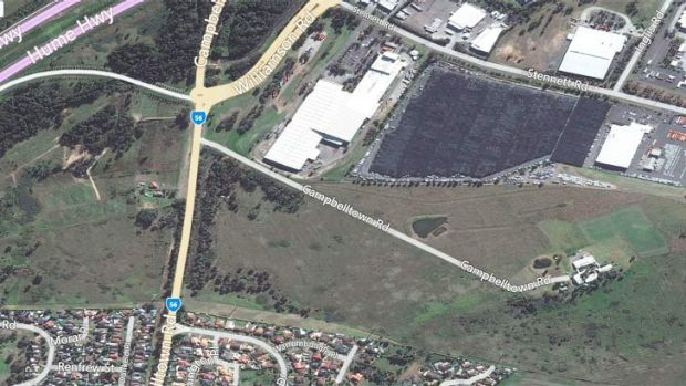 The location of the fire at Bow Bowing area, near Campbelltown.
