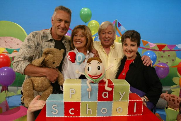 Play School's 40th birthday celebrations in 2006 (from left) John Waters, Noni Hazlehurst, John Hamblin and Lorraine Bayly.