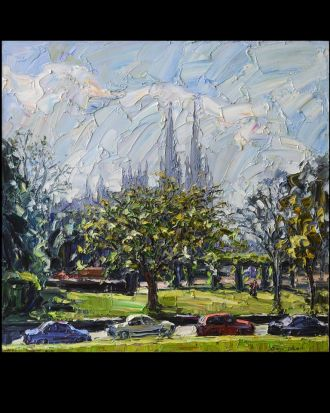 Jun Chen, St Mary's, 2012, oil on canvas. Sunshine, lawn, trees and church, people enjoyed the peace and freedom. This ...