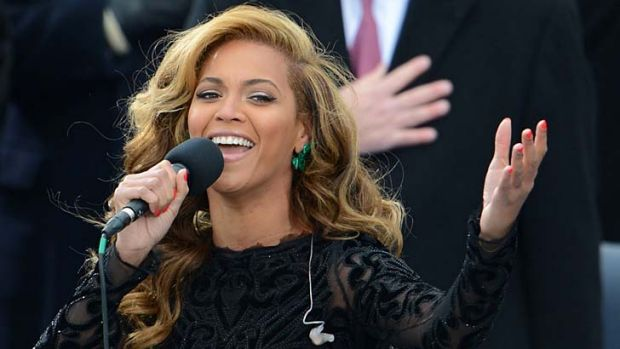 Beyonce performs the National Anthem to conclude the 57th Presidential Inauguration ceremonial swearing-in of US ...
