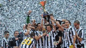 Winner: Alessandro Del Piero celebrates with teammates after Juventus claimed the Serie A title last year.