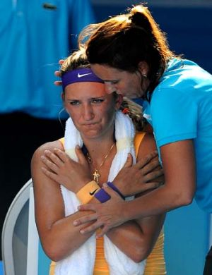 Time-out ... Victoria Azarenka receives treatment.