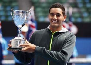 Kyrgios with the trophy.