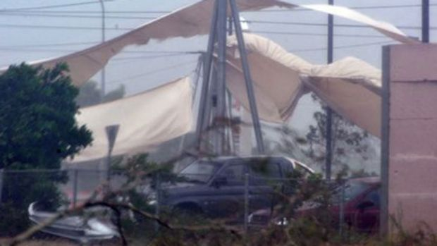 Bargara shopping centre suffered serious damage in the storm.