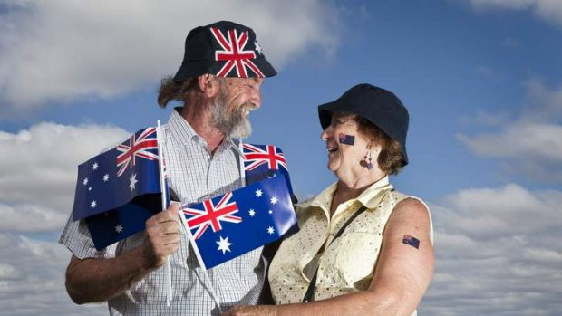 Bob and Diana Ecclestone at the Australia Day traditional flag raising ceremony.