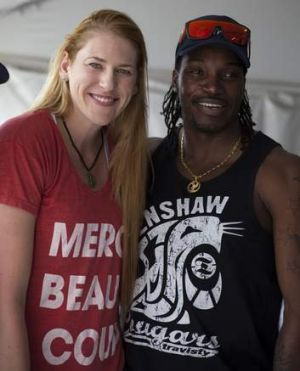Lauren Jackson and West Indies cricketer Chris Gayle.