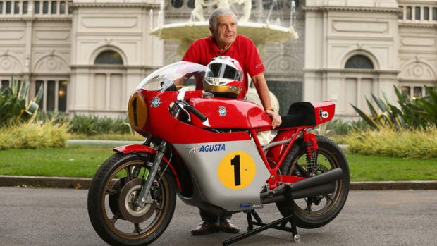 Two-wheel legend: Giacomo Agostini with a replica of an MV Augusta racing bike.