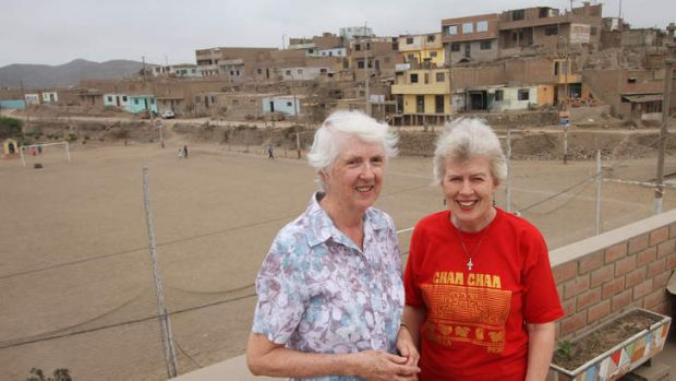 Sister Patricia McDermott (left) and Sister Joan Doyle at Cerro Candela, on the outskirts of Lima.
