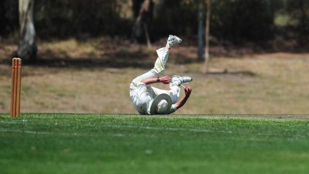 Tuggeranong's David Pullem takes a catch yesterday.