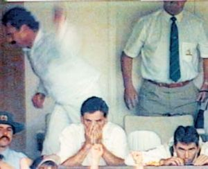 An upset Allan Border can't hide his disappointment after the fall of Craig McDermott's wicket at the Adelaide Oval in 1993.