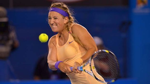 Poor reception ... Victoria Azarenka overcame Li Na and a hostile crowd at Melbourne Park to successfully defend her ...