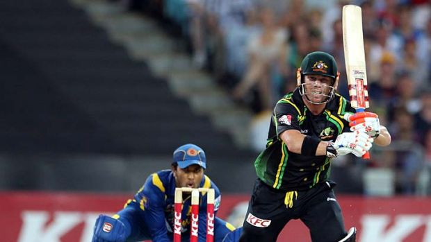 Thwarted ... David Warner takes toll of the Sri Lankan attack in an unbeaten knock of 90 at ANZ Stadium on  Saturday night.