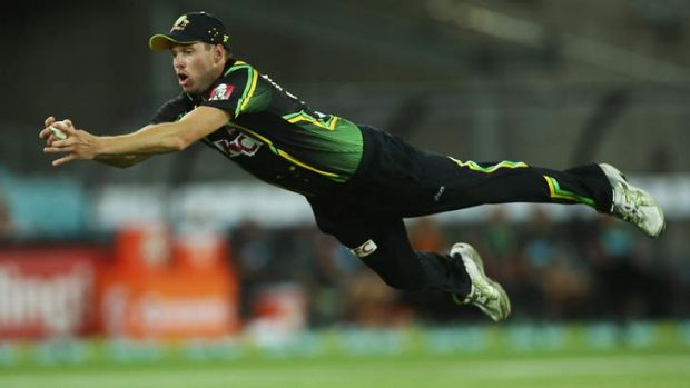 Ben Laughlin takes a stunning catch to dismiss Tillakaratne Dilshan.