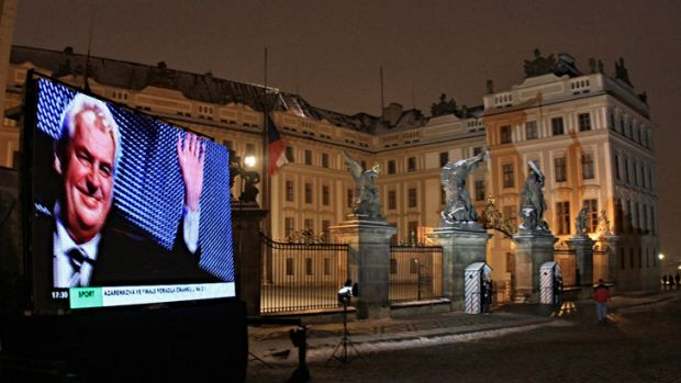 Czech new-elected President Milos Zeman is displayed on a screen at the Hradcany Castle.
