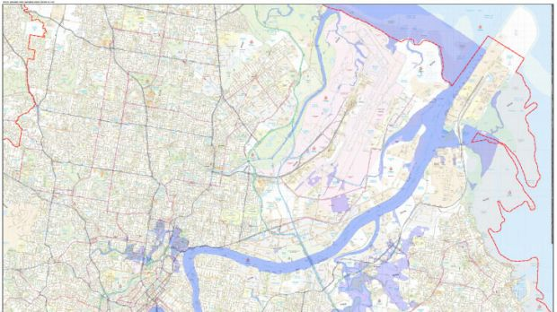 A map of the projected flood area in Brisbane's east, released by the Brisbane City Council on Sunday, January  27, 2013.
