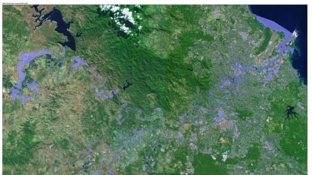 Overall map of the projected flood area released by the Brisbane City Council on Sunday, January  27, 2013.