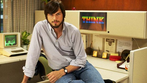 Ashton Kutcher as Steve Jobs in a publicity shot released by Sundance, promoting the film <i>Jobs</i>.