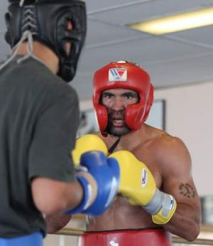 Anthony Mundine sparring at his father's Redfern gym.