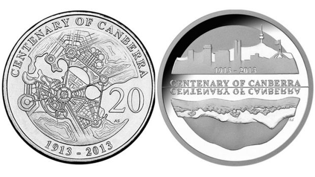 The circulating 20 cent Centenary coin (left) and the silver proof collectible $5 coin (right).