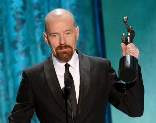 Bryan Cranston accepts the award for Outstanding Performance by a Male Actor in a Drama Series for <i>Breaking Bad</i> ...