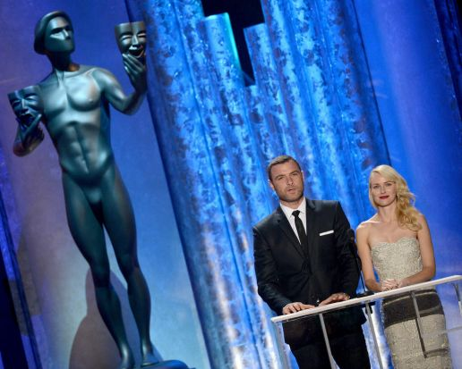 Liev Schreiber and Naomi Watts onstage during the 19th Annual SAG Awards in Los Angeles.