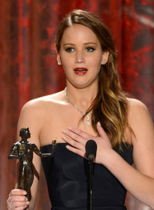 Jennifer Lawrence wins a SAG Award for being an outstanding female actor in a leading role.