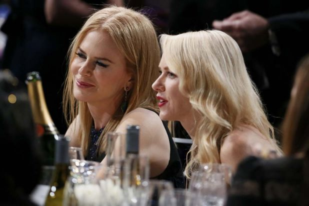 Nicole Kidman and Naomi Watts share a table at the SAG Awards ceremony.