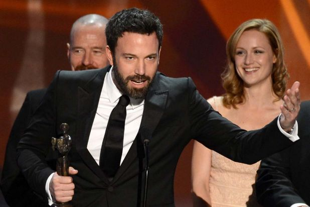 Actor/director Ben Affleck accepts the award for best ensemble cast for Argo.