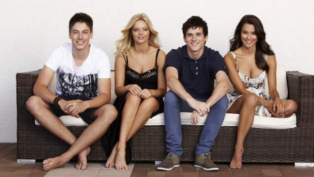 Rhiannon Fish, far right, with the cast of <i>Home and Away</i>.