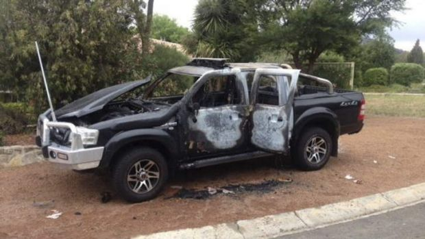 One of the vehicles torched in Canberra recently.