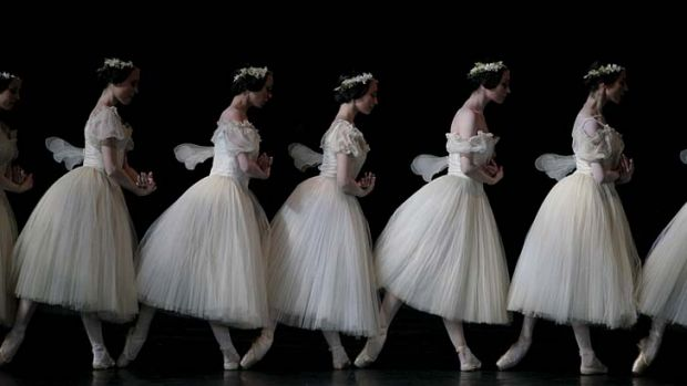 In step ... the Paris Opera Ballet in a scene from <i>Giselle</i>.