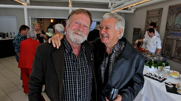 Celebrations ... Jack Thompson, left, with Bob Hawke at Jonah's, Whale Beach, on Monday.