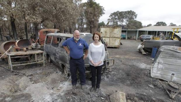 Julia Gillard with Seaton CFA captain Graeme Lord.