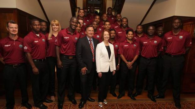 Prime Minister Julia Gillard and her partner Tim Mathieson with the West Indies team at The Lodge.