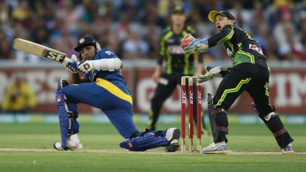 Mahela Jayawardene dominates the ball at the MCG on Monday night.