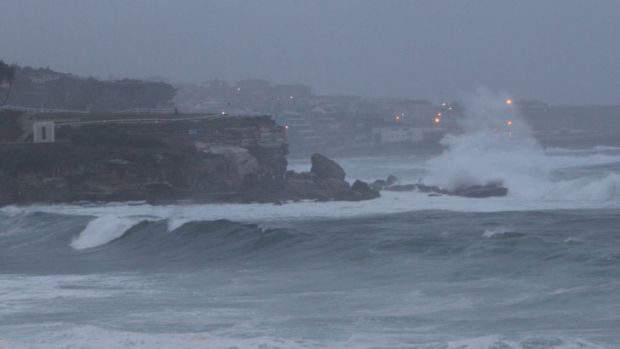 Big waves ... Coogee Beach on Tuesday morning.