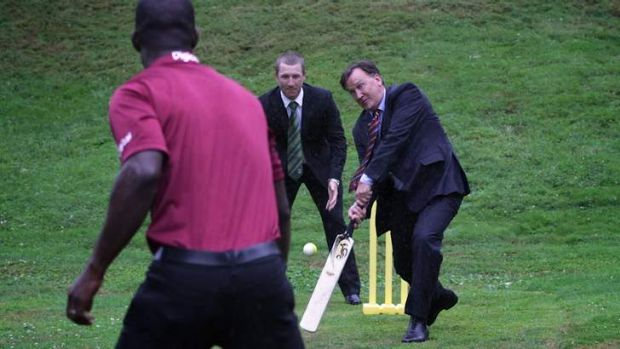 Prime Minister Julia Gillard's partner Tim Mathieson with cricketers Brad Haddin and Darren Sammy. The first bloke has ...
