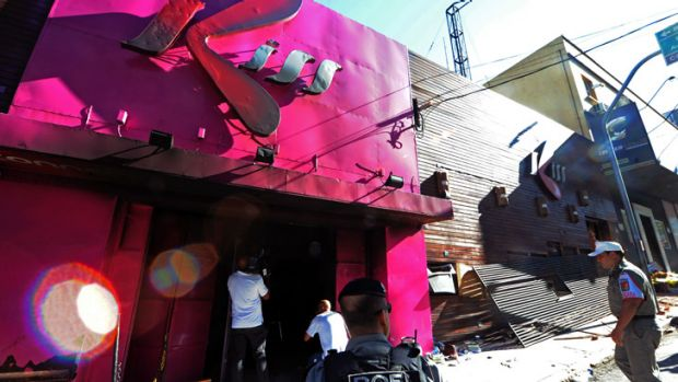 The Kiss nightclub in Santa Maria, southern Brazil, where a blaze killed more than 230 people.