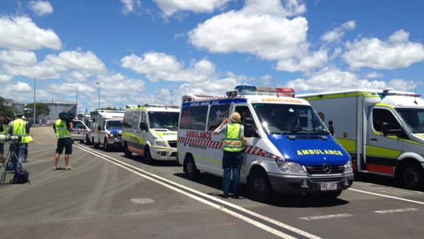 Ambulances line up at Brisbane AIrport for the arrival of evacuated Bundaberg Hospital patients.
