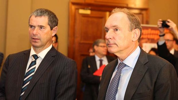Red flag ... Sir Tim Berners-Lee (right) and Communications Minister Senator Stephen Conroy in Sydney on Tuesday.