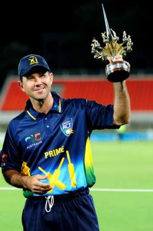 Ricky Ponting with the trophy.