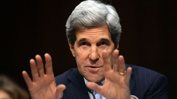 US Senator John Kerry testifying before the Senate Foreign Relations committee this month.