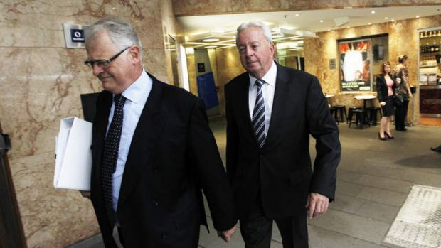John McGuigan, right, arrives to give evidence at the Obeid ICAC inquiry.