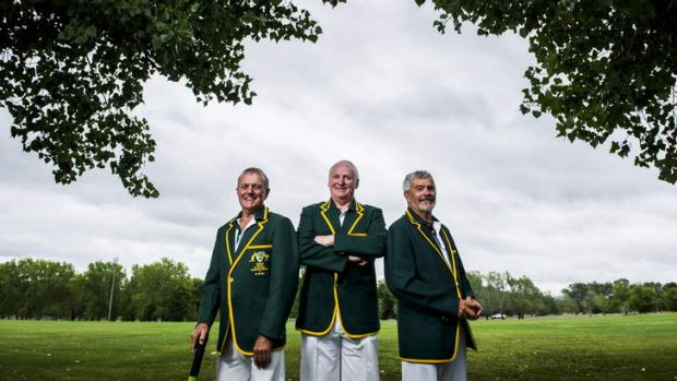 Denis Axelby, Tony Paterson, and Peter Howes, all from the ACT, are representing Australia in the over-60s cricket side ...
