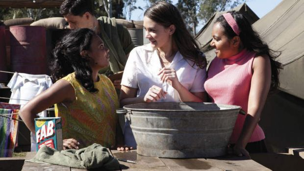 Miranda Tapsell, Shari Sebbens and Jessica Mauboy in a scene from <i>The Sapphires</i>.