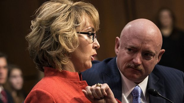 Gabrielle Giffords makes a statement during the Senate Judiciary Committee on Capitol Hill as her husband Mark Kelly ...